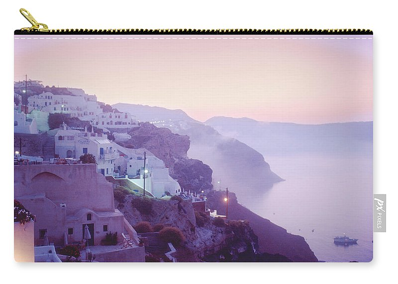 Oia Carry-all Pouch featuring the photograph Sunrise In Oia by Yuri Lev