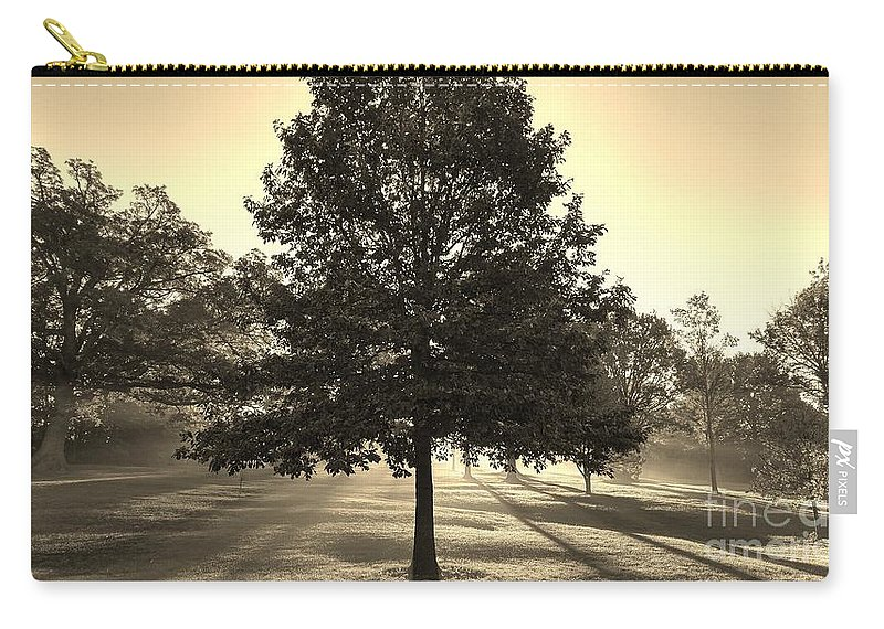 Sunrise Carry-all Pouch featuring the photograph Sunrise In The Mist by Roger Look