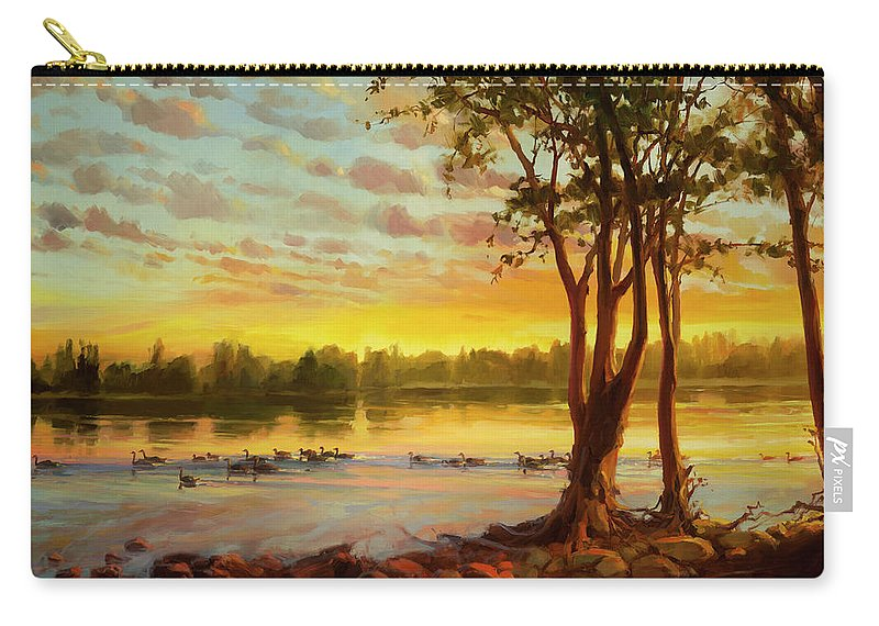 Landscape Carry-all Pouch featuring the painting Sunrise On The Columbia by Steve Henderson