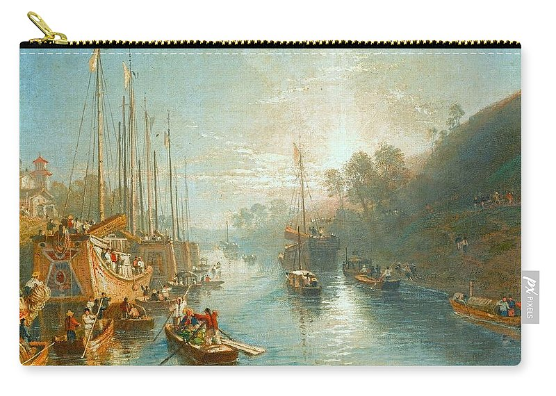 William Havell (reading 1782 - London 1857) Carry-all Pouch featuring the painting Sunrise On The Grand Canal by MotionAge Designs