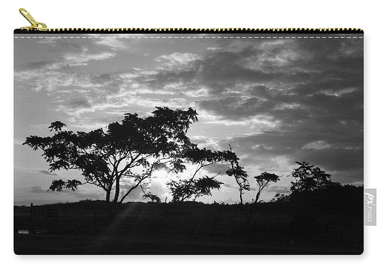 Sunrise Carry-all Pouch featuring the photograph Sunrise Over Fort Salonga B W G by Rob Hans