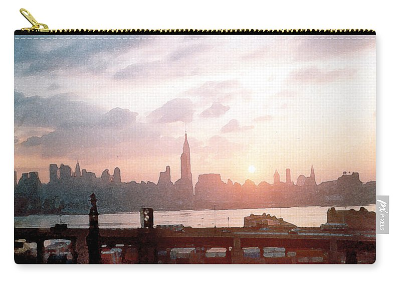City Carry-all Pouch featuring the painting Sunrise Over Nyc by Paul Sachtleben