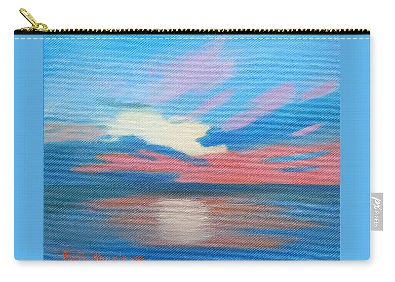 Fine Art Carry-all Pouch featuring the painting Sunrise Over Ocean City Maryland by Ruth Housley