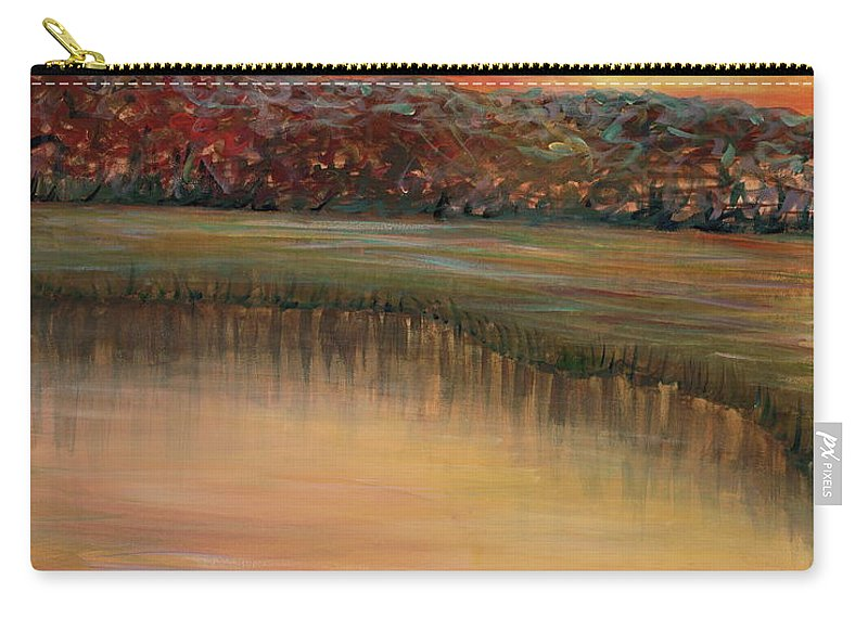 Sunrise Carry-all Pouch featuring the painting Sunrise Over The Marsh by Nadine Rippelmeyer