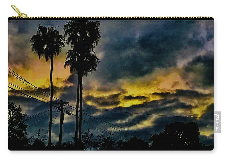 Sunrise Carry-all Pouch featuring the photograph Sunrise Palms by Kevin Brennan and Brett Hanavan