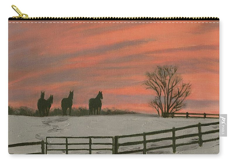 Sunrise Carry-all Pouch featuring the painting Sunrise Silhouettes by Deborah Butts