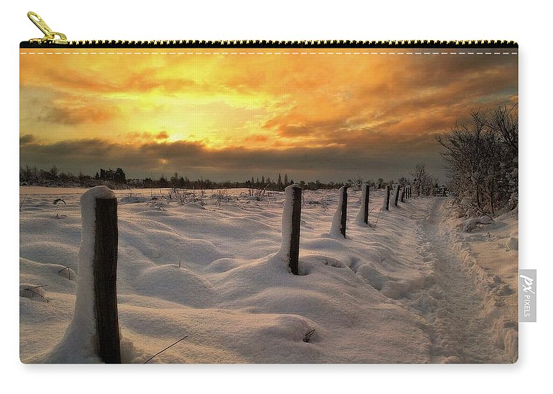 Sunrise Carry-all Pouch featuring the photograph Sunrise Snow Fields by Ceri Jones