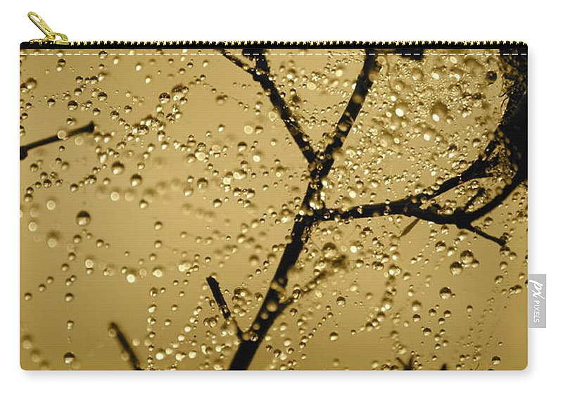 Dewdrops On Spider Web Carry-all Pouch featuring the photograph Sunrise Sparkle by Carol Groenen