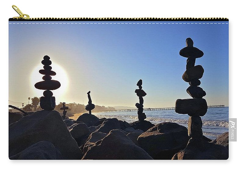 Rock Stacks Carry-all Pouch featuring the photograph Sunrise Stacks by Joseph Krzywonski