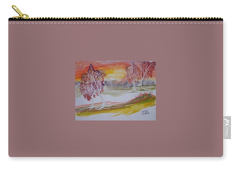 Impressionistic Carry-all Pouch featuring the painting Sunrise Surreal Modern Landscape Painting Fine Art Poster Print by Derek Mccrea