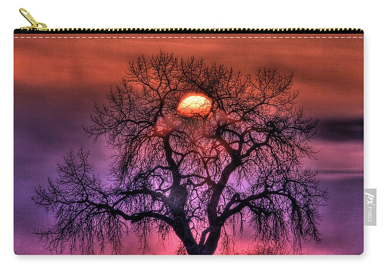 Sunrise Carry-all Pouch featuring the photograph Sunrise Through The Foggy Tree by Scott Mahon