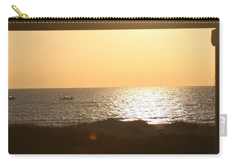 Sunrise Carry-all Pouch featuring the photograph Sunrise Through The Pavilion by Nadine Rippelmeyer