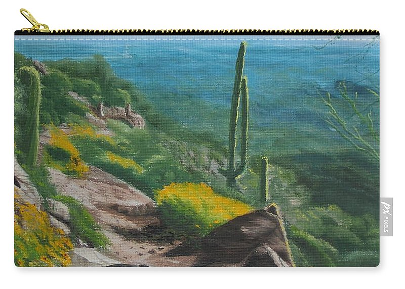 Landscape Carry-all Pouch featuring the painting Sunrise Trail by Lea Novak