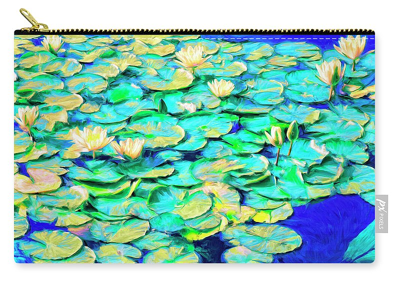 Sunrise Waterlilies Carry-all Pouch featuring the painting Sunrise Waterlilies by Dominic Piperata