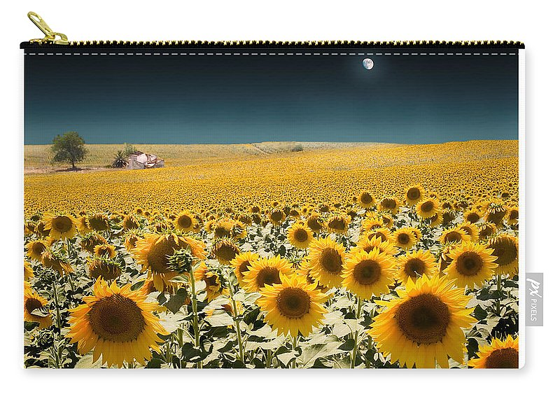 Sunflowers Carry-all Pouch featuring the photograph Suns And A Moon by Mal Bray