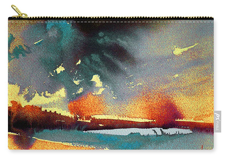 Watercolour Landscape Carry-all Pouch featuring the painting Sunset 08 by Miki De Goodaboom