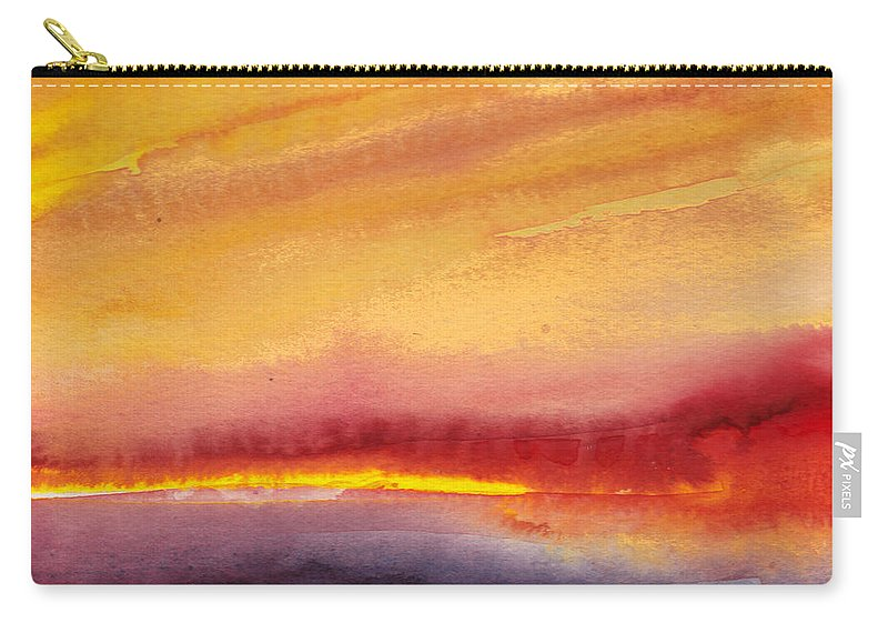 Watercolour Landscape Carry-all Pouch featuring the painting Sunset 21 by Miki De Goodaboom