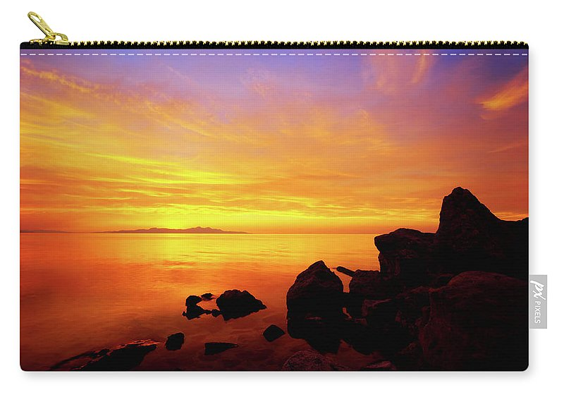 Sunset And Fire Carry-all Pouch featuring the photograph Sunset And Fire by Chad Dutson