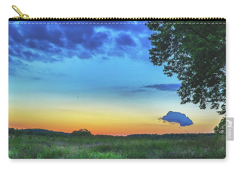 Field Carry-all Pouch featuring the photograph Sunset And Flowers by Howard Roberts