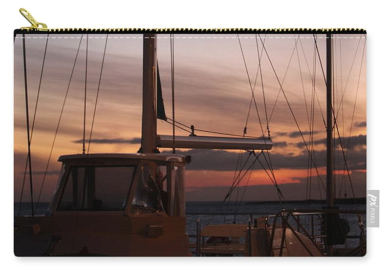 Sunset Carry-all Pouch featuring the photograph Sunset And Sailboat by Nadine Rippelmeyer