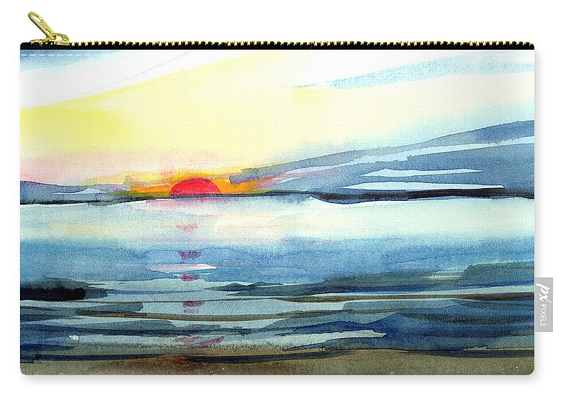 Landscape Seascape Ocean Water Watercolor Sunset Carry-all Pouch featuring the painting Sunset by Anil Nene