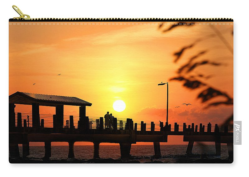 Fort De Soto Carry-all Pouch featuring the photograph Sunset At Fort De Soto Fishing Pier Pinellas County Park St. Petersburg Florida by Mal Bray