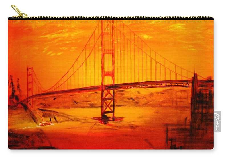 Sunset At Golden Gate Carry-all Pouch featuring the painting Sunset At Golden Gate by Helmut Rottler