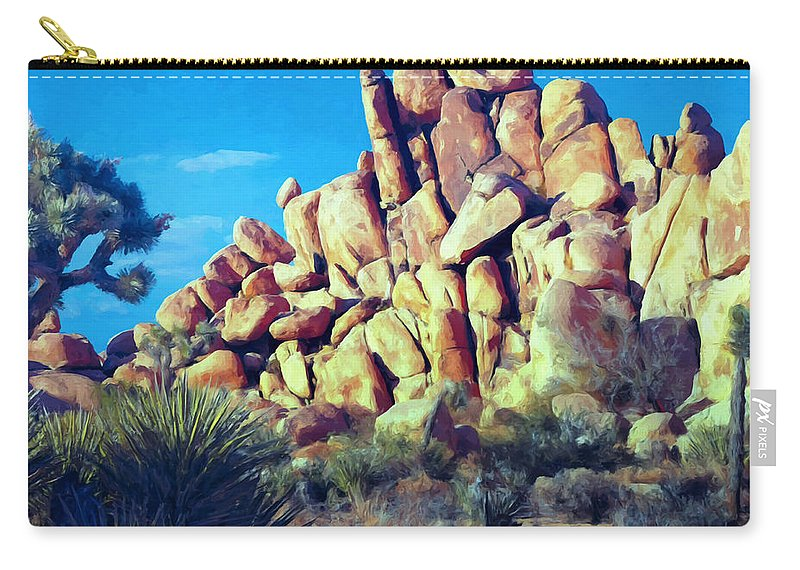 Sunset Carry-all Pouch featuring the painting Sunset At Joshua Tree by Dominic Piperata