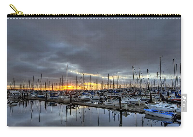 Hdr Carry-all Pouch featuring the photograph Sunset At Port Gardner by Brad Granger