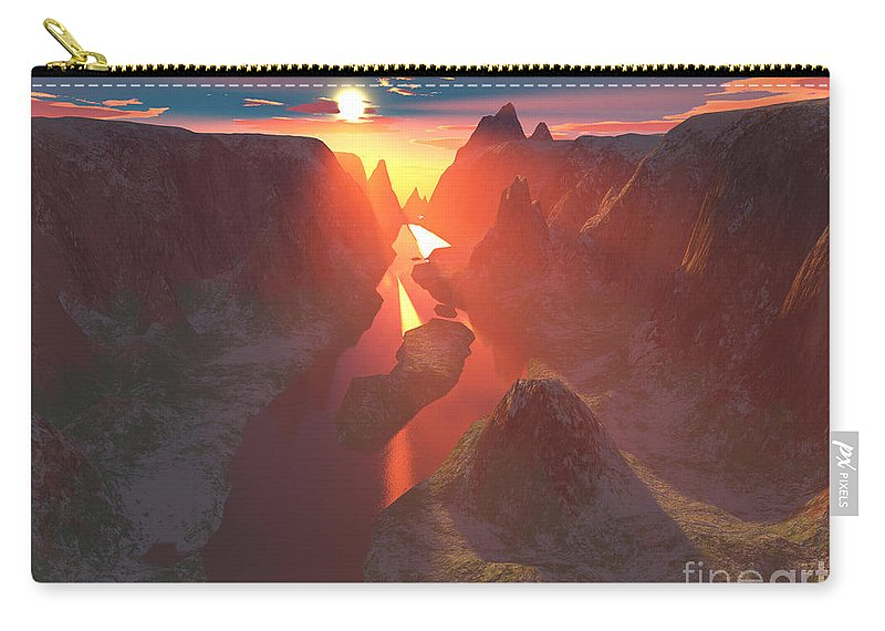 Canyon Carry-all Pouch featuring the digital art Sunset At The Canyon by Gaspar Avila