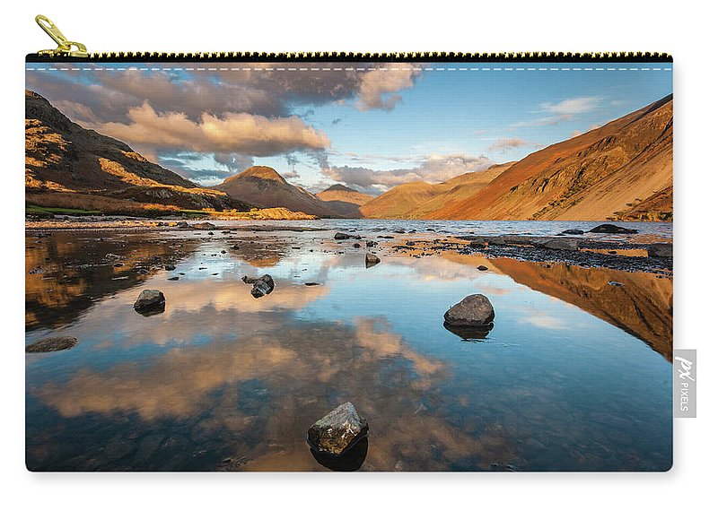 Sunrise Carry-all Pouch featuring the photograph Sunset at Wast Water #3, Wasdale, Lake District, England by Anthony Lawlor