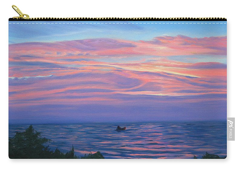 Seascape Carry-all Pouch featuring the painting Sunset Bay by Lea Novak