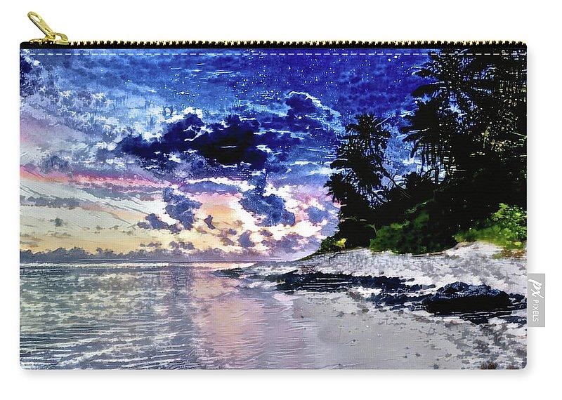 Sunset Beach Park Carry-all Pouch featuring the digital art Sunset Beach Park by ArtMarketJapan