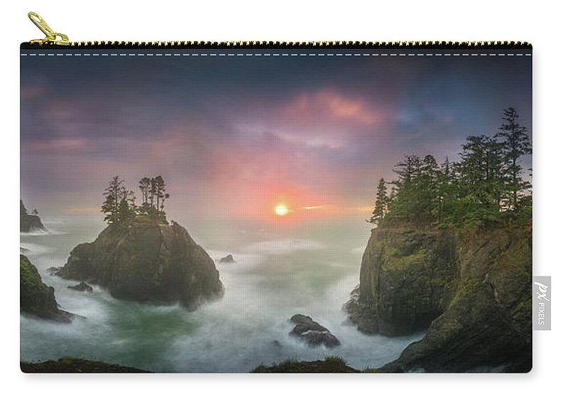 America Carry-all Pouch featuring the photograph Sunset Between Sea Stacks With Trees Of Oregon Coast by William Freebilly photography
