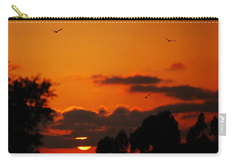 Sunset Carry-all Pouch featuring the photograph Sunset Birds by Jill Reger