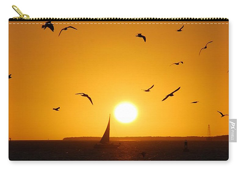 Sunset Carry-all Pouch featuring the photograph Sunset Birds Key West by Susanne Van Hulst