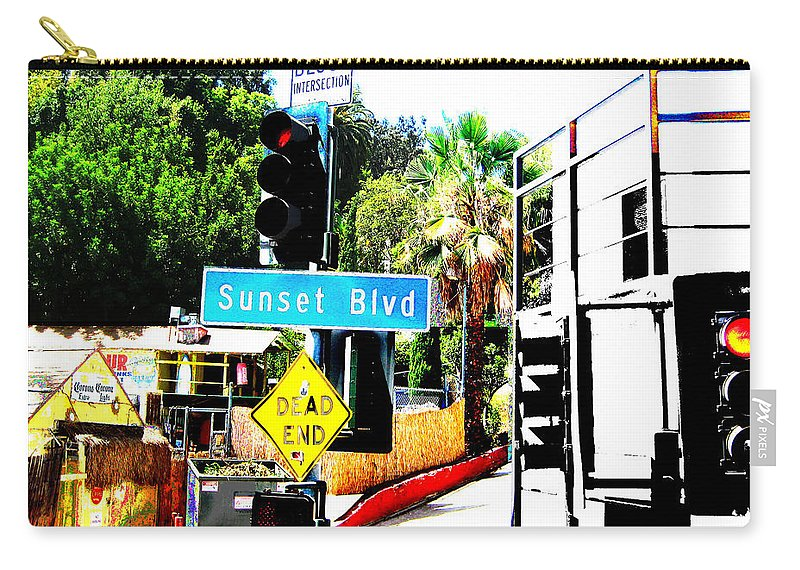 Stoplight On Sunset Blvd Carry-all Pouch featuring the digital art Sunset Blvd by Maria Kobalyan