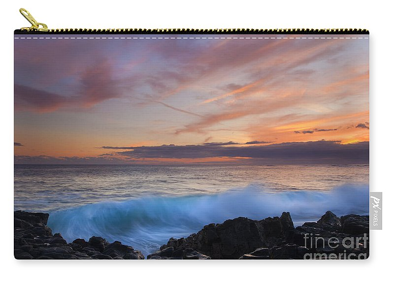 Wave Carry-all Pouch featuring the photograph Sunset Curl by Mike Dawson
