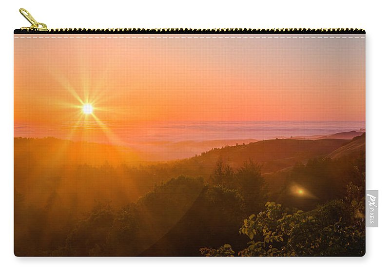 Pacific Carry-all Pouch featuring the photograph Sunset Fog Over The Pacific #1 by Bryant Coffey