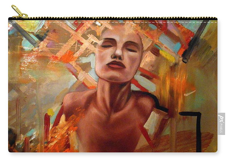 Sunset Carry-all Pouch featuring the painting Sunset Girl by Flamur Miftari