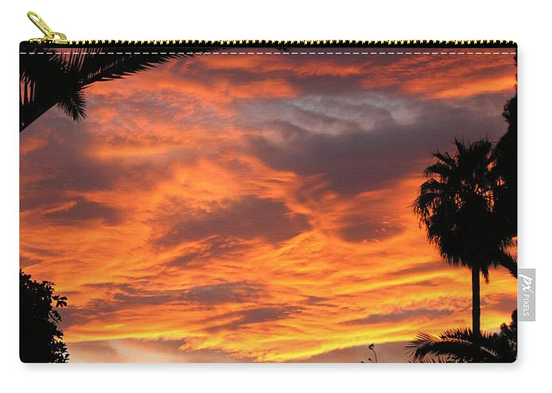 Sunset Carry-all Pouch featuring the photograph Sunset God's Fingers In Clouds by Diane Greco-Lesser