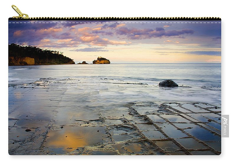 Tesselated Pavement Carry-all Pouch featuring the photograph Sunset Grid by Mike Dawson