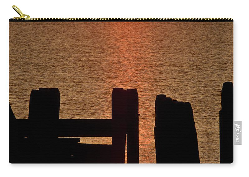 Sunset Carry-all Pouch featuring the digital art Sunset Hecla Island Manitoba Canada by Mark Duffy