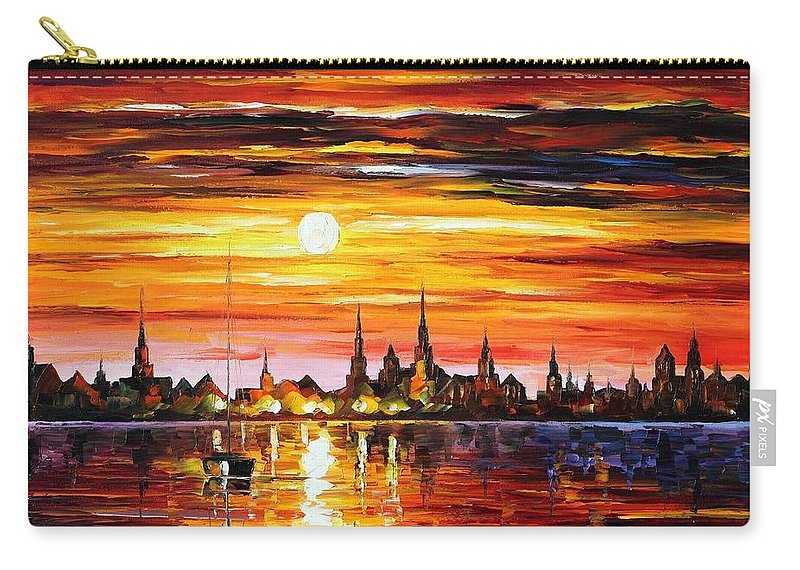 Afremov Carry-all Pouch featuring the painting Sunset In Barcelona by Leonid Afremov