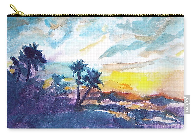 Landscape Carry-all Pouch featuring the painting Sunset In Hawaii by Jan Bennicoff
