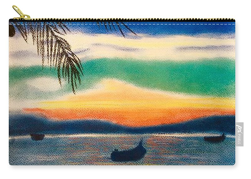 Sunset Carry-all Pouch featuring the pastel Sunset In Manuel Antonio by Natalia Wallwork