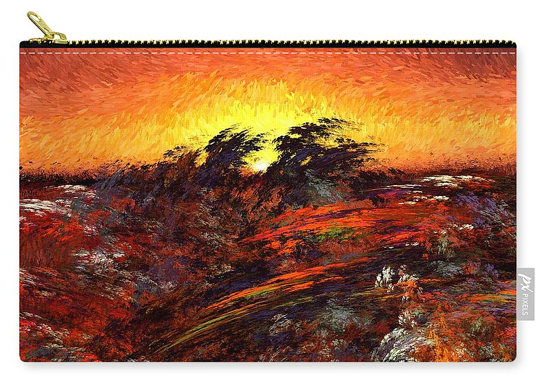 Abstract Digital Painting Carry-all Pouch featuring the digital art Sunset In Paradise by David Lane