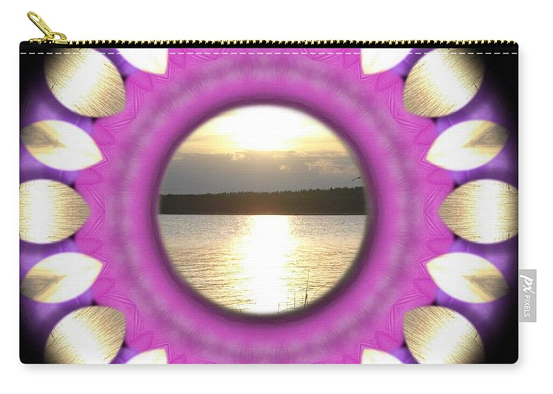Sunset Carry-all Pouch featuring the mixed media Sunset In Summertime by Pepita Selles