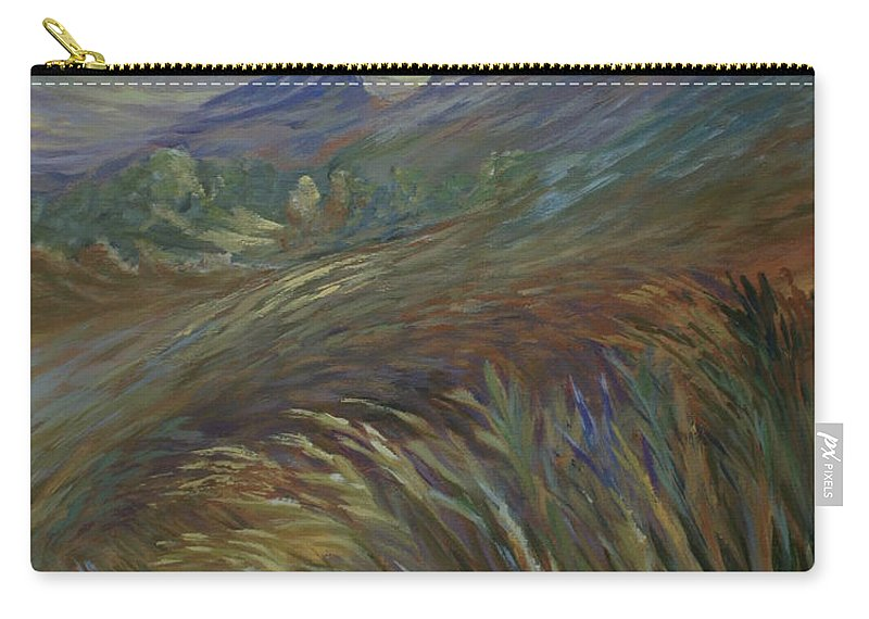 Sunset In Mountains Carry-all Pouch featuring the painting Sunset In The Mountains by Joanne Smoley