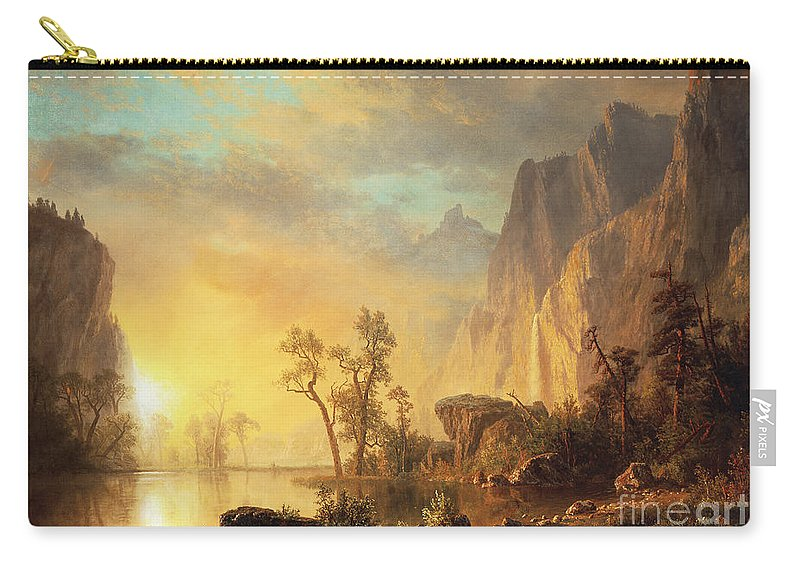 Bierstadt Carry-all Pouch featuring the painting Sunset In The Rockies by Albert Bierstadt